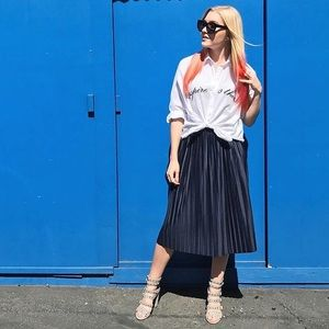 Topshop Navy Pleated Skirt